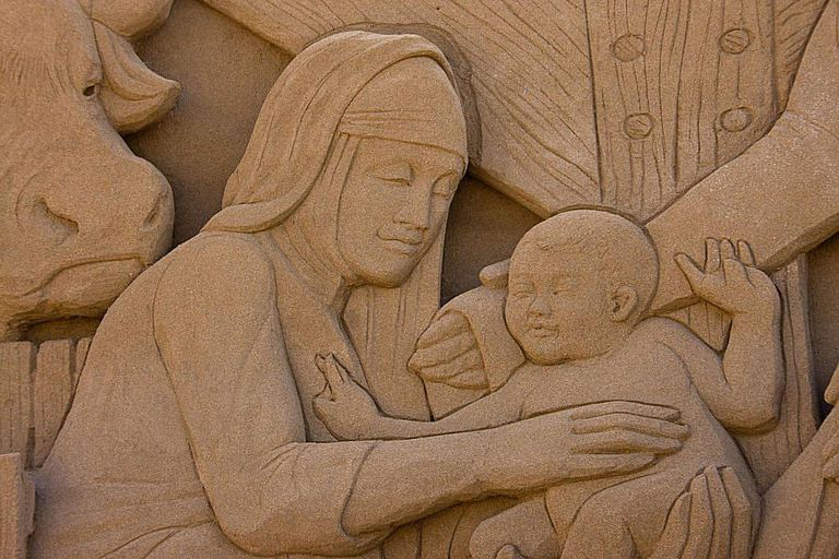 Christmas sand sculpture from Canary Islands, Spain