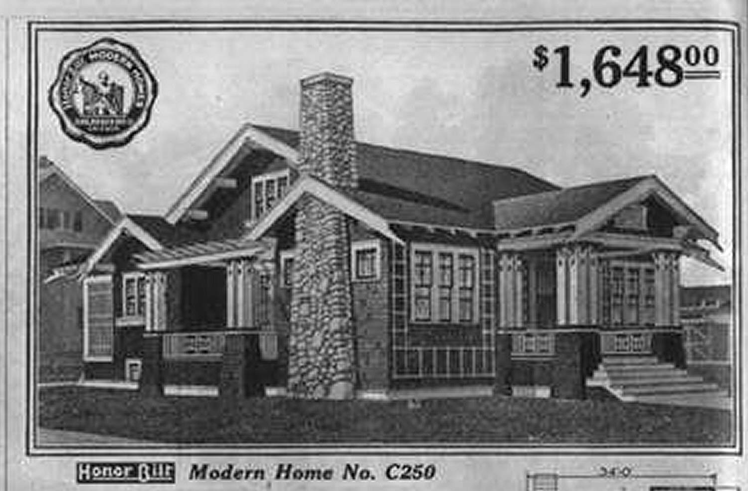 black and white illustration of bungalow costing $1,648.00