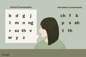 Illustrated chart of voiced and voiceless consonants