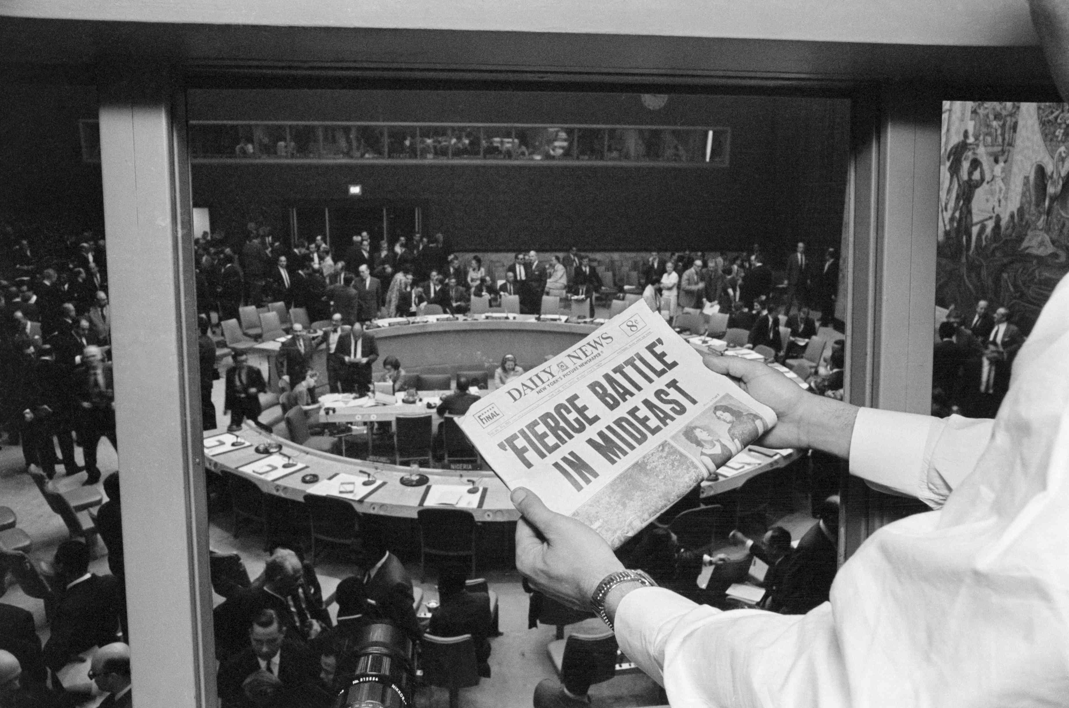 Headline at the United Nations during the Six-Day War.