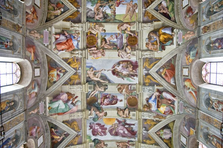 Michelangelo's Creation of Adam Fresco Painting, Sistine Chapel, Rome, Italy