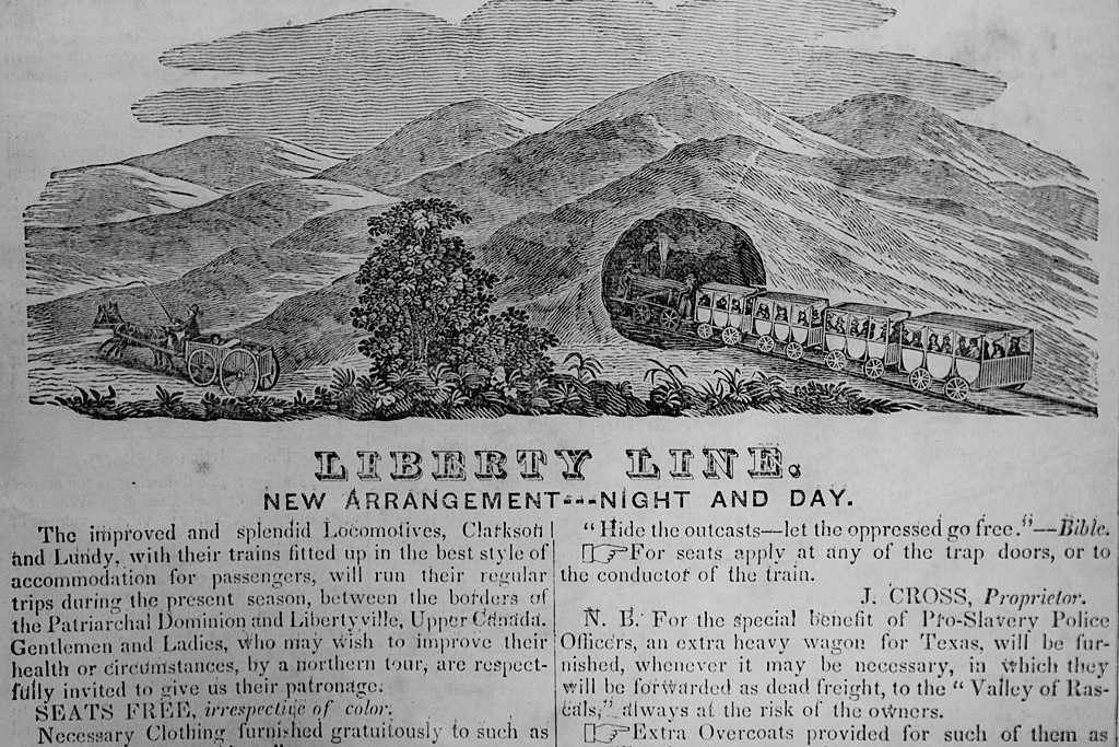 1844 advertisement for the Liberty Line, part of the Underground Railroad between the United States and Canada.