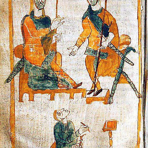 Tenth-century depiction of Charlemagne and his illegitimate son