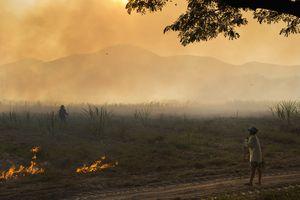 Farmer watching fields burning