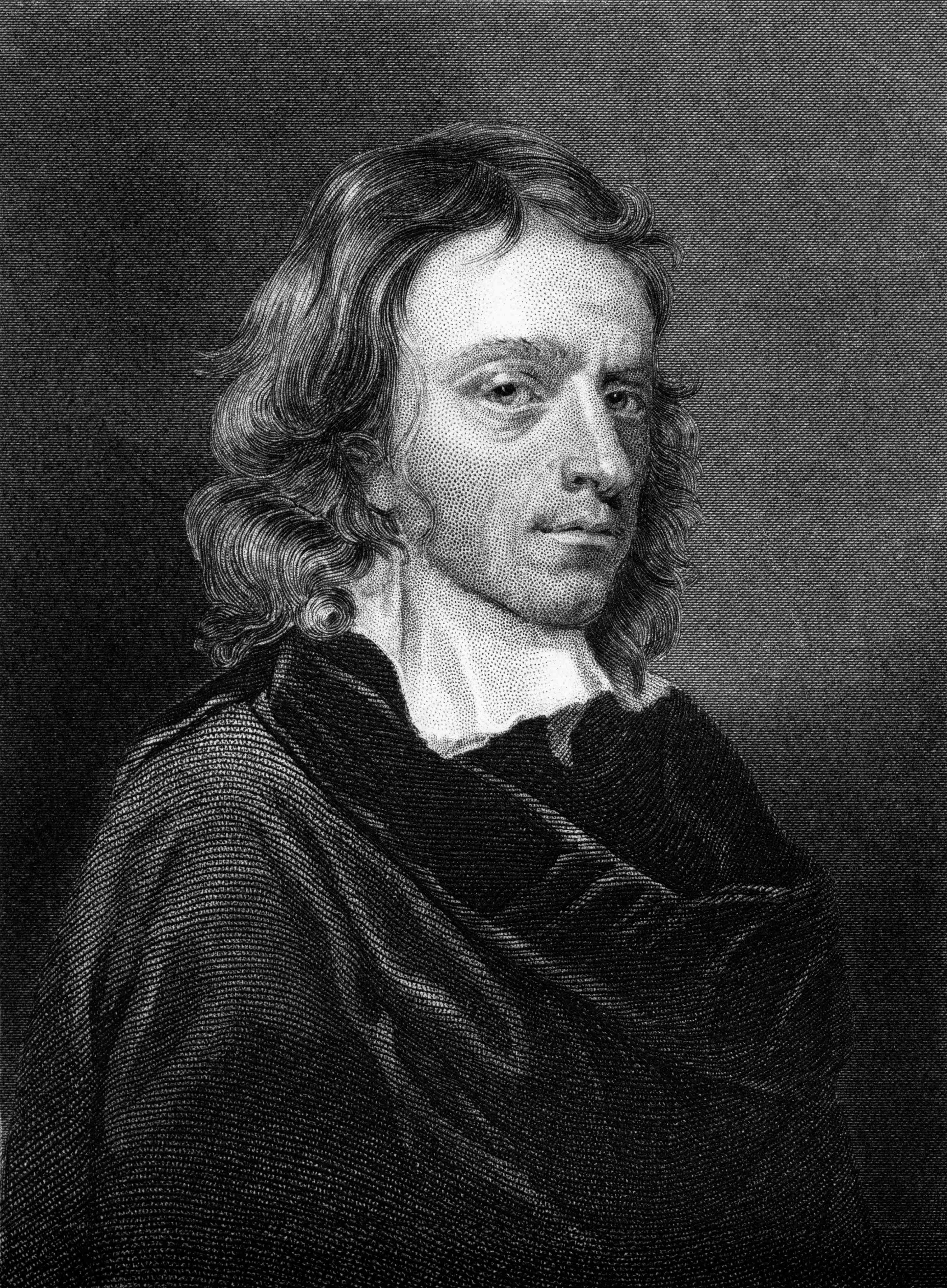 Engraving of John Milton in black and white