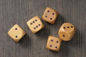 Five standard six-sided dice