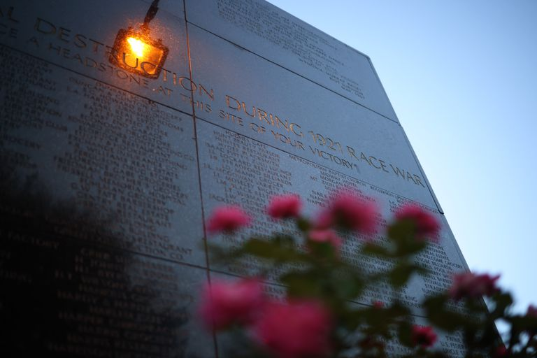 The Black Wall Street Massacre memorial is shown June 18, 2020 in Tulsa, Oklahoma.