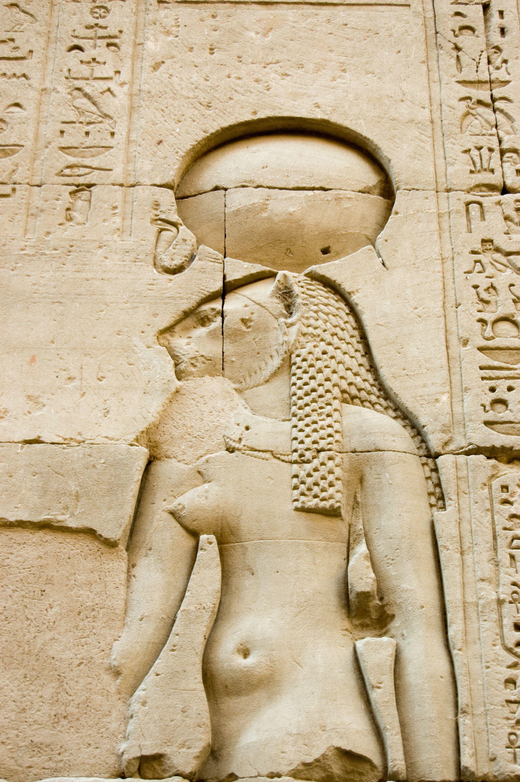 Carving of Egyptian goddess Tefnut.
