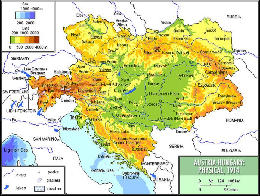 1914 map of Austria Hungary