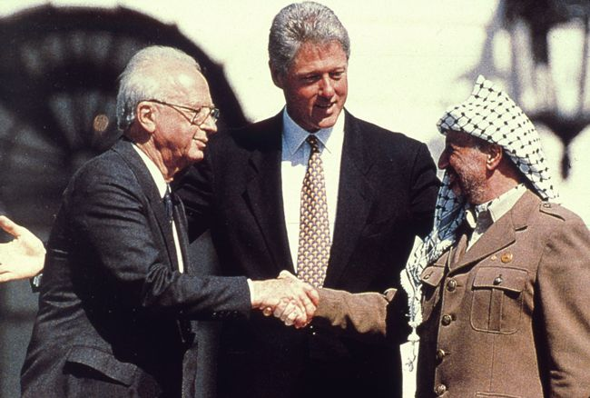 arafat rabin clinton oslo accords white house handshake