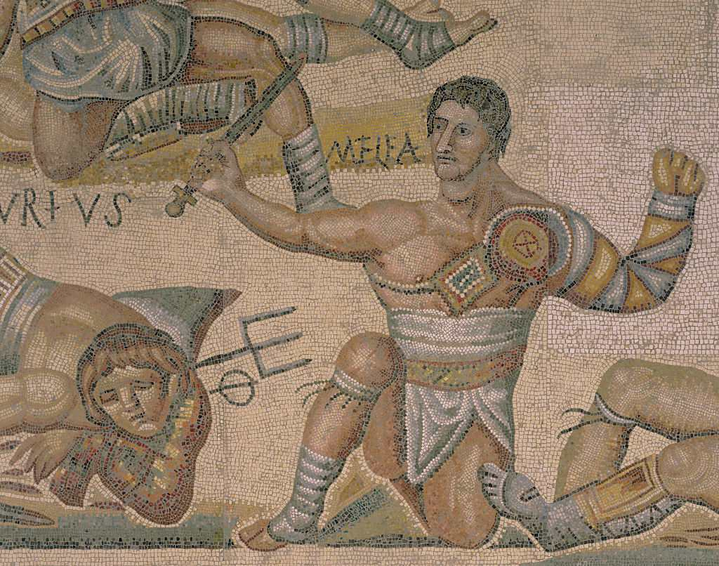 Detail of a Mosaic of a Gladiator Fight from Torre Nuova