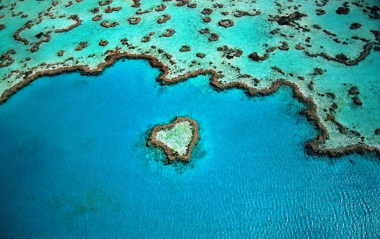 Australia, Great Barrier Reef, heart shaped reef, aerial view.