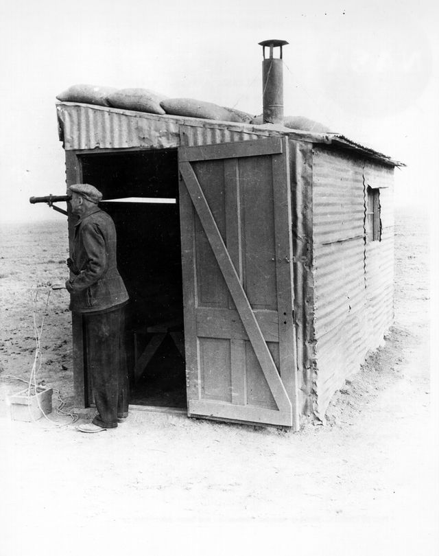 Dr. Goddard at his Launch Control Shack