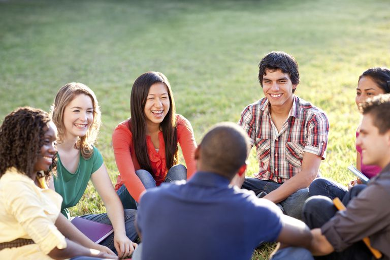 Group of young adults talking outside