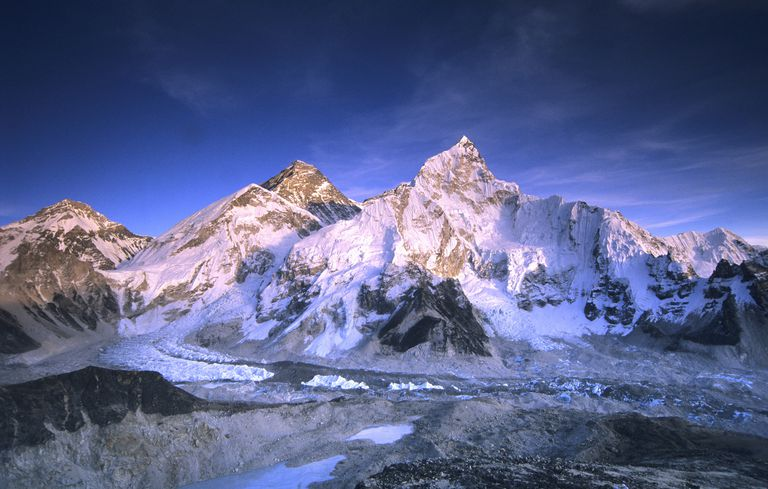 Mount Everest at dusk.