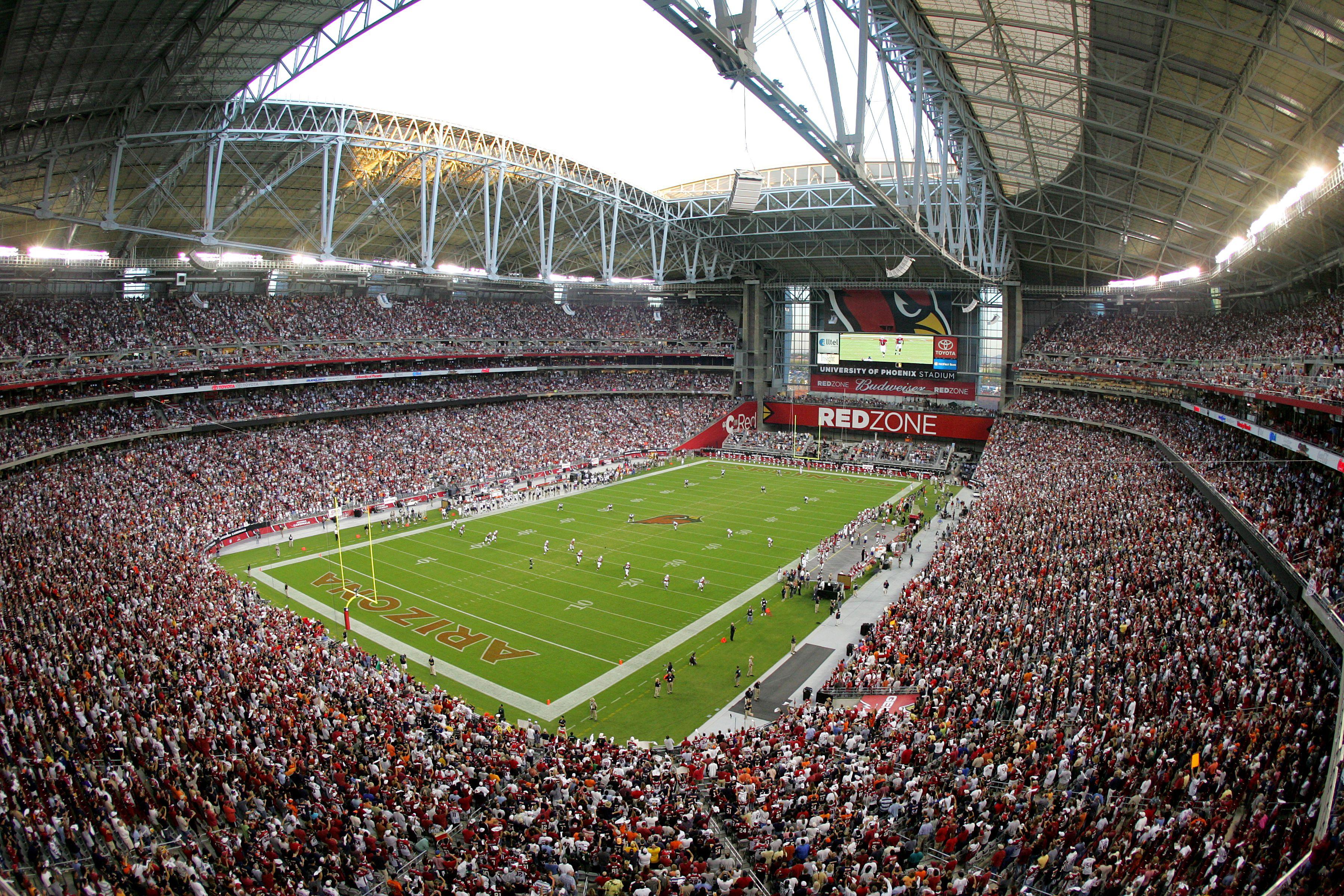 Inside University of Phoenix Stadium in Glendale, Arizona, in 2006 with the roof open