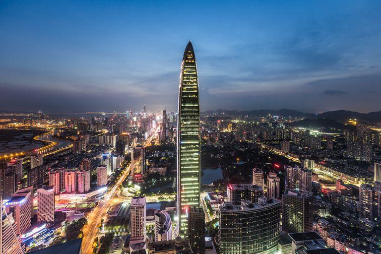 Elevated View of Shenzhen Skyline at Twilight