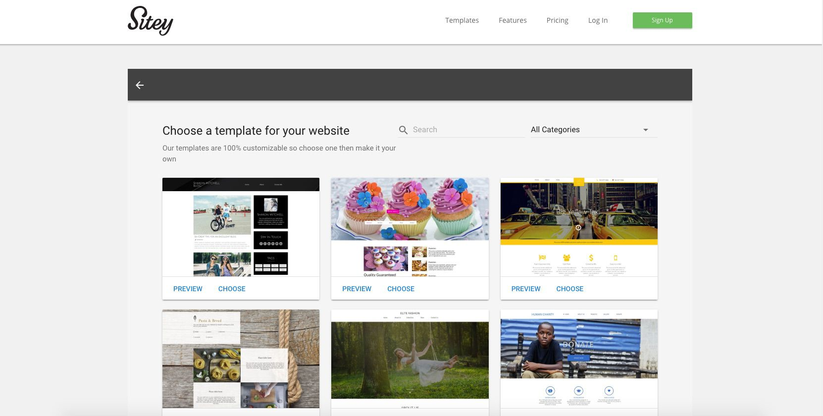 A screenshot of Sitey.com.