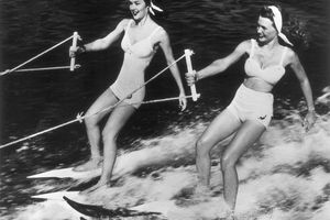 Two women Water-Skiing In The U.S.A. Around 1950