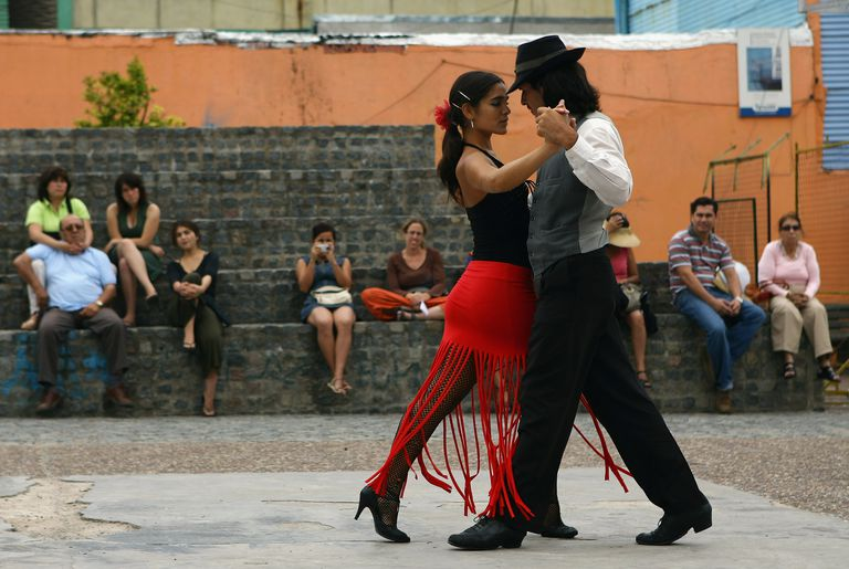 A couple dance to tango music