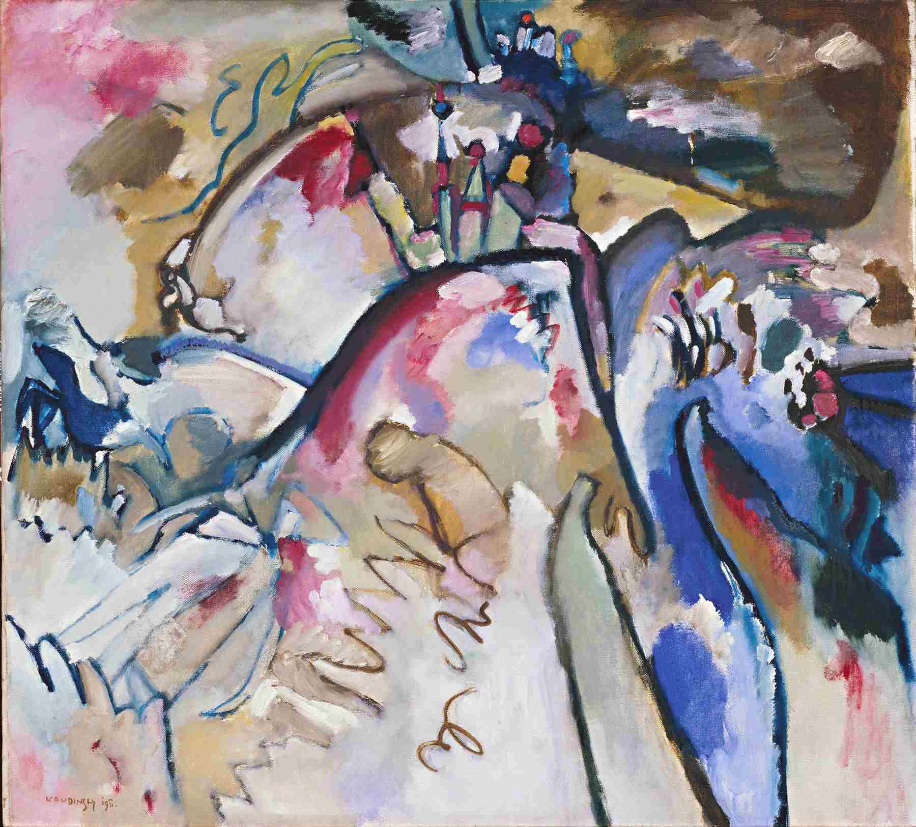Wassily Kandinsky (Russian, 1866-1944) Wassily Kandinsky (Russian, 1866-1944). Improvisation 21A, 1911. Oil and tempera on canvas. 37 3/4 x 41 5/16 in. (96 x 105 cm). Gabriele Münter-Stiftung, 1957. Städtische Galerie im Lenbachhaus, Munich.