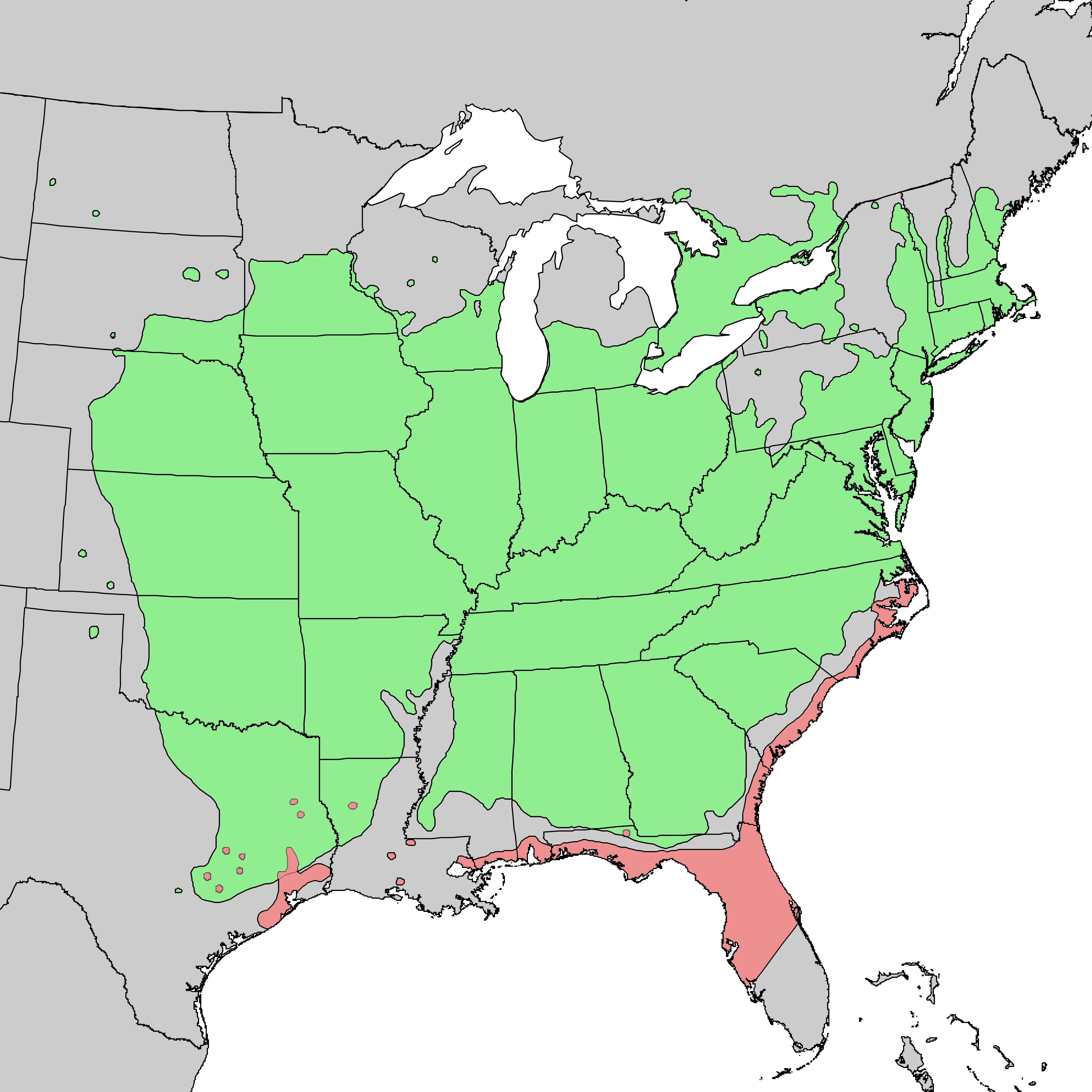Distribution map of eastern redcedar