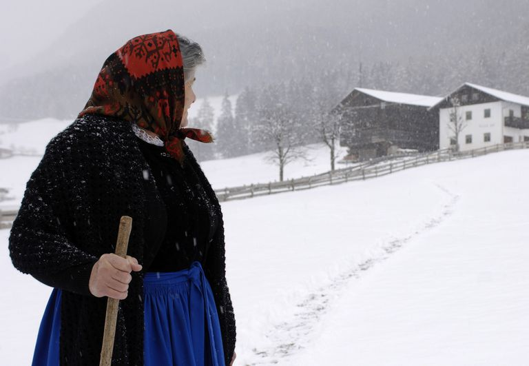 Elderly Italian Woman in Field