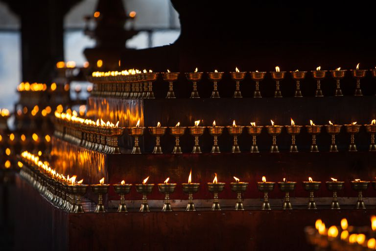 Tibetan butter lamps for praying contributed by believer