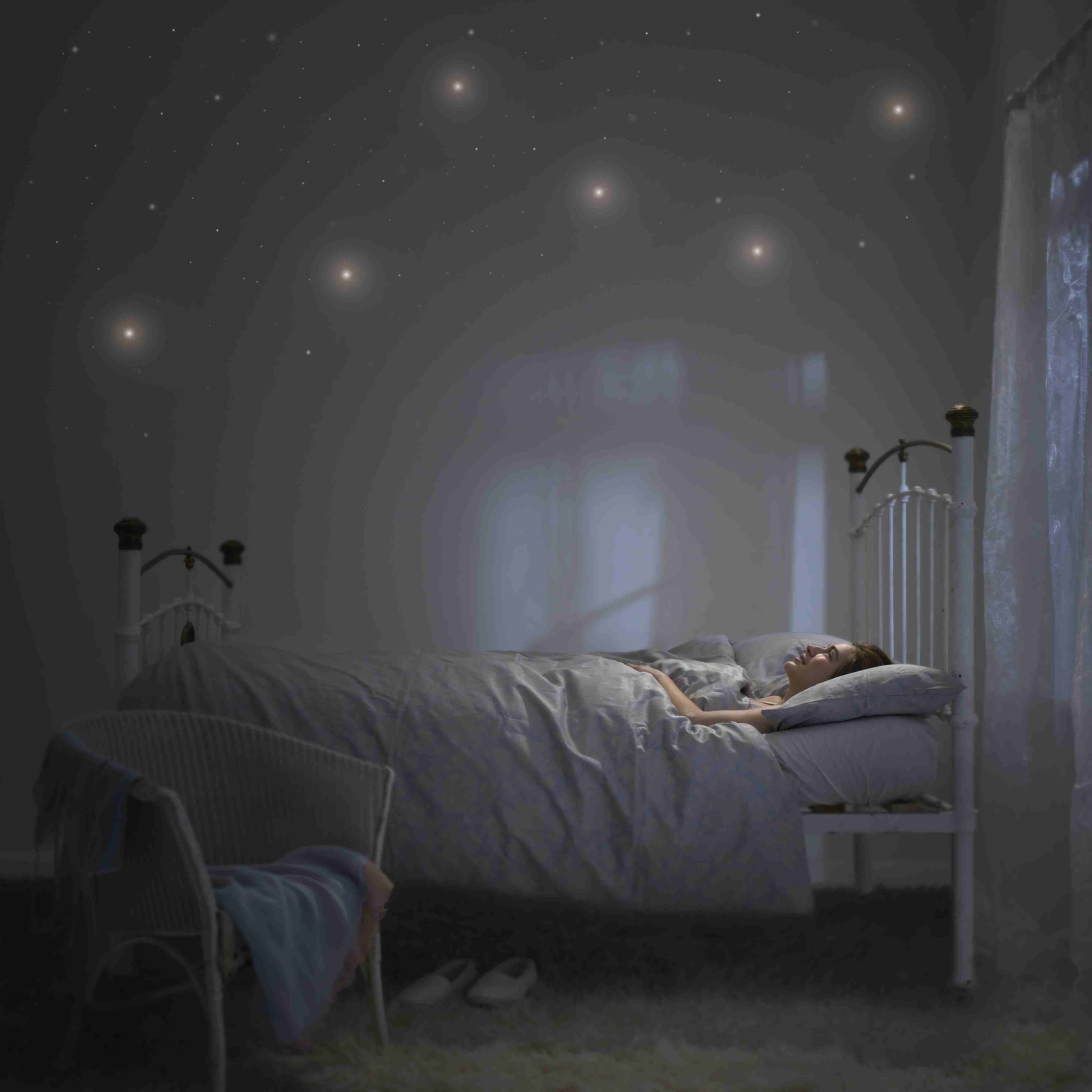 Stars painted or stuck on bedroom walls glow in the dark because of phosphorescence.