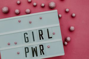 girl power message in lightbox.Top view
