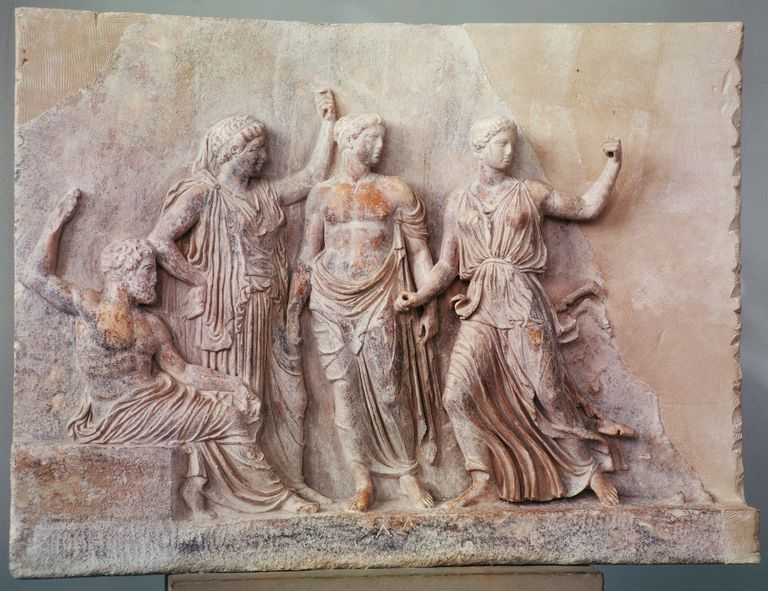 5th Century BC Greek Sculpture of Poseidon, Athena, Apollo, and Artemis