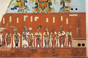 Frescoes in Bonampak, Chiapas (Mexico). Detail showing a scene of a feast. (reconstruction)