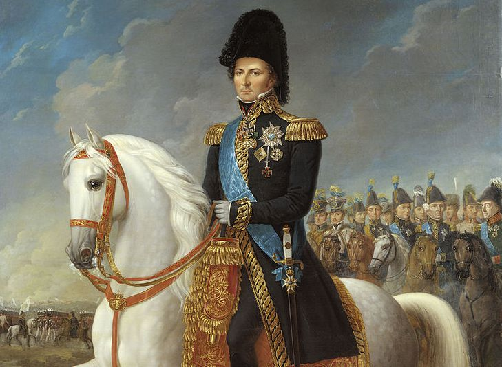 Painting of Crown Prince Charles John in a military uniform atop a horse.