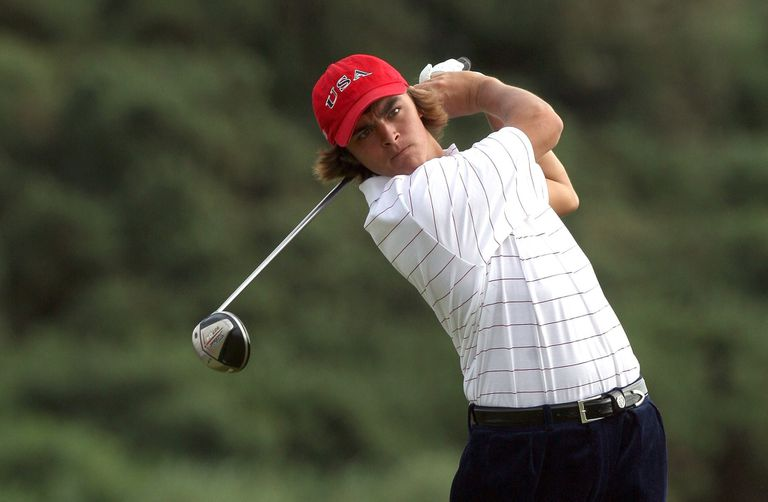 Rickie Fowler plays a shot during the 2007 Walker Cup.