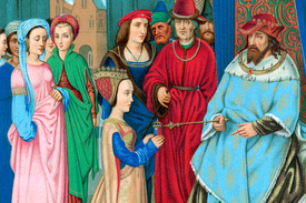 A nobly dressed Queen of Sheba and King Solomon in a medieval depiction of a crowded meeting