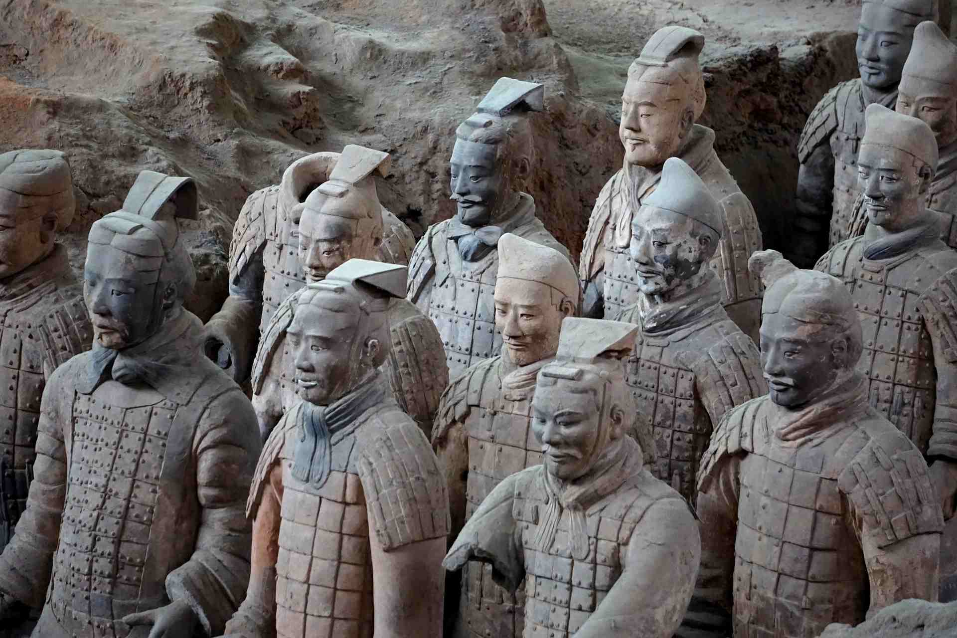 Close up view of terracotta soldiers with different faces.