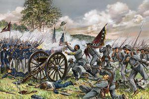 Illustration of General Lewis Armistead at the Battle of Gettysburg
