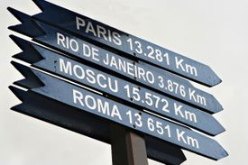 Distance sign in southern Argentina.