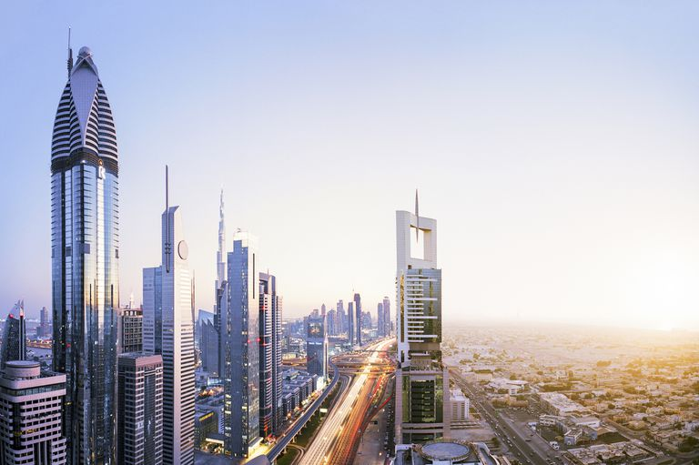 High Angle Cityscape Of Dubai Skyline Digital Composite