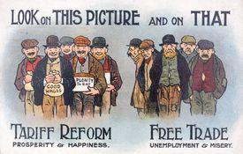 Anti free trade postcard