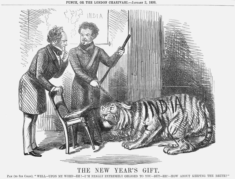 Sir Colin Campbell offers India to Lord Palmerston, who shelters behind a chair.