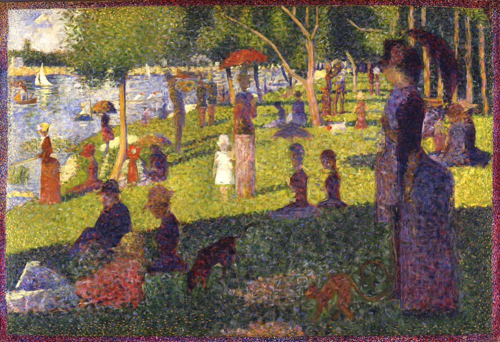 """Georges-Pierre Seurat (French, 1859-1891). Study for """"A Sunday on La Grande Jatte,"""" 1884-85. Oil on canvas. 27 3/4 x 41 in. (70.5 x 104.1 cm). Bequest of Sam A. Lewisohn, 1951."""