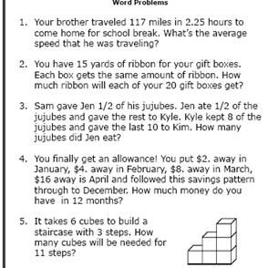 Thgrade Math Word Problems Worksheet No