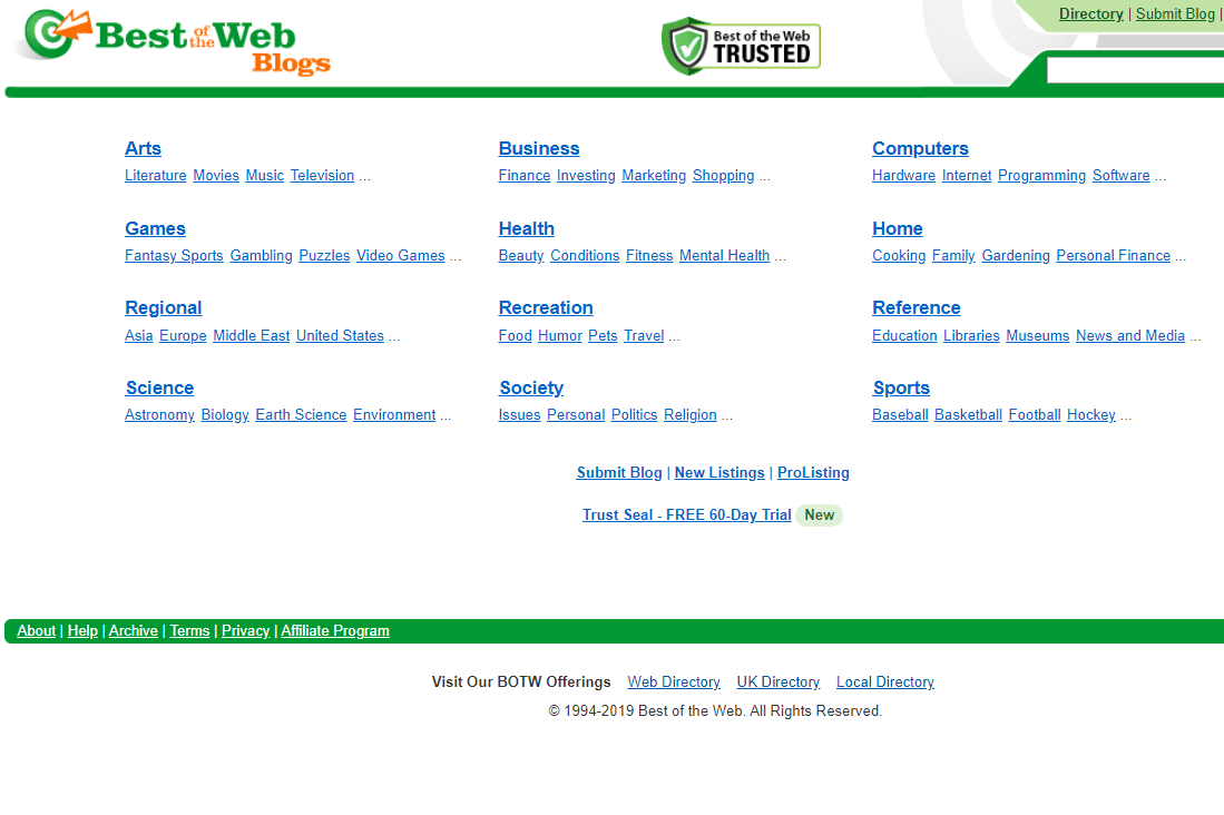 Best of the Web Blog Directory