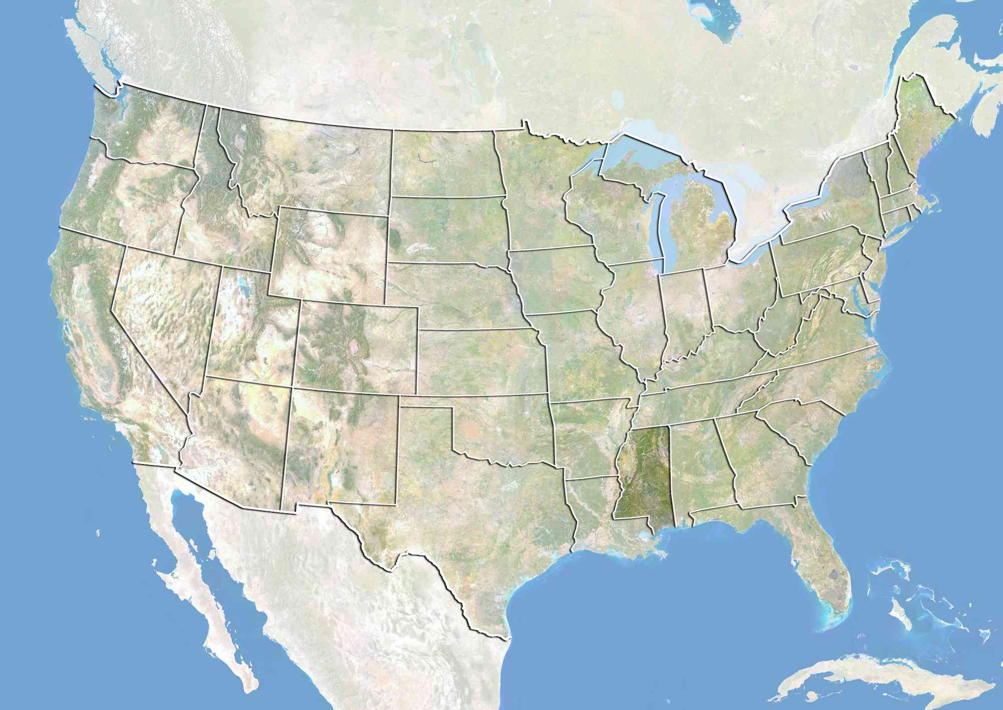 United States and the State of Mississippi, Satellite Image With Bump Effect