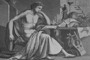 Engraving depicting Greek philosopher Aristotle