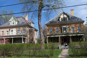 2 large square houses with identical detailings