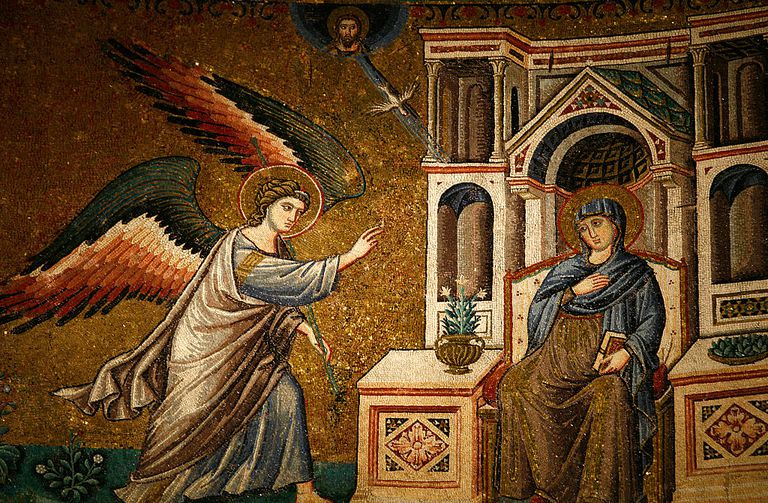 Detail of Annunciation to the Virgin Mary Mosaic