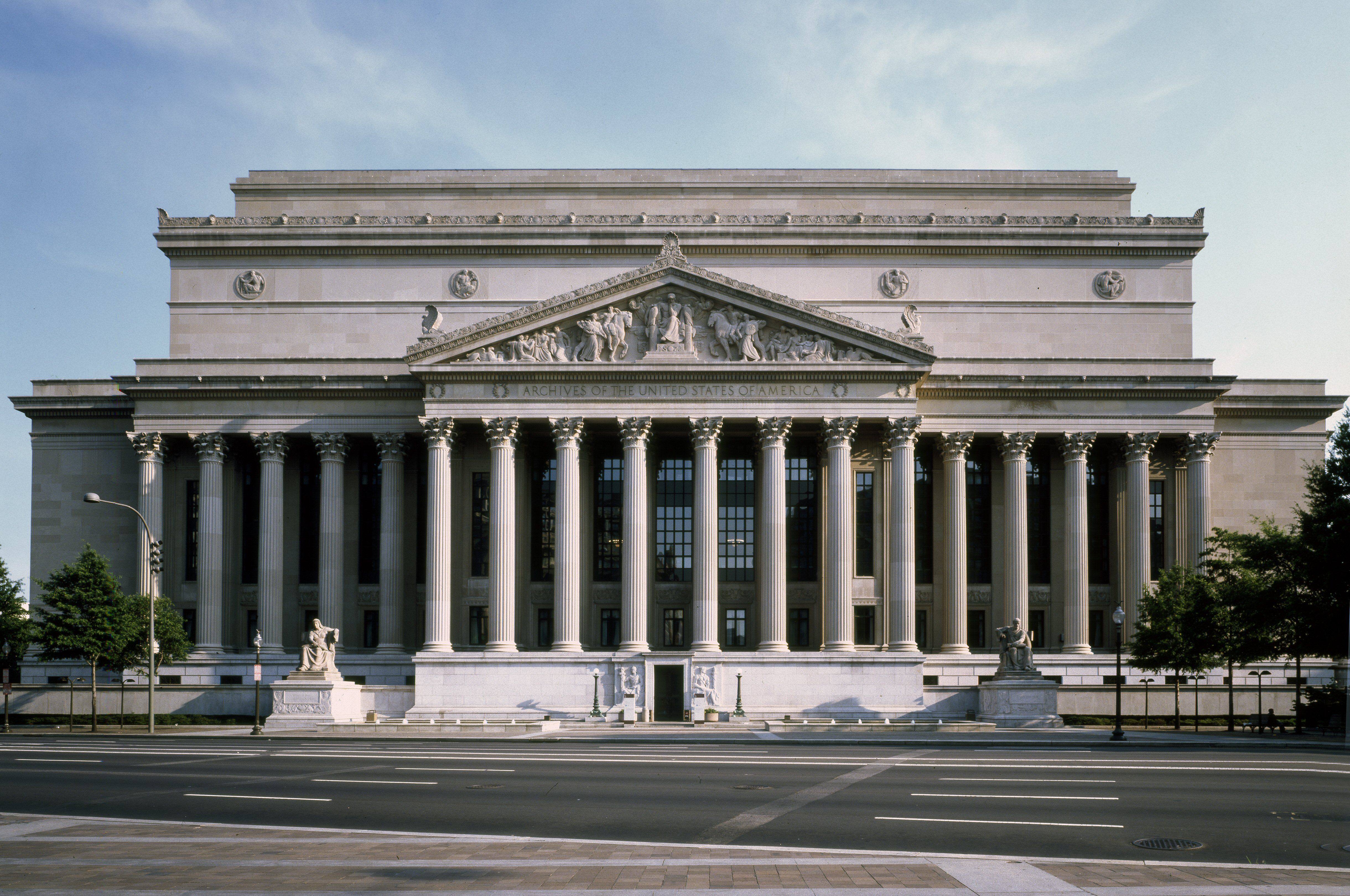 Pennsylvania Avenue View Of The National Archives Building Washington Dc
