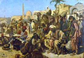 Painting of a traditional market scene in Cairo, Egypt